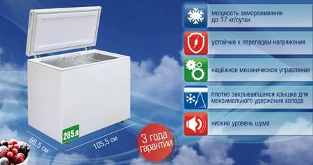 Новый морозильный ларь «Бирюса 305VK»